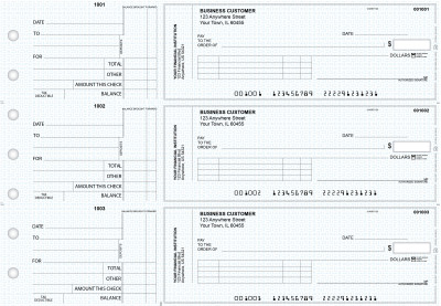 Blue Knit Standard Invoice Business Checks | BU3-BLU02-SNV