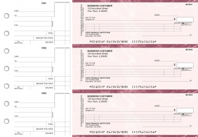 Burgundy Marble Itemized Counter Signature Business Checks | BU3-BMA01-ICS