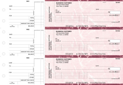Burgundy Marble Standard Invoice Business Checks | BU3-BMA01-SNV