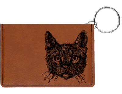 Tabby Cat Engraved Leather Keychain Wallet | KLE-00002