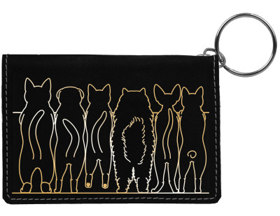 Cat Tails Engraved Leather Keychain Wallet | KLE-00003