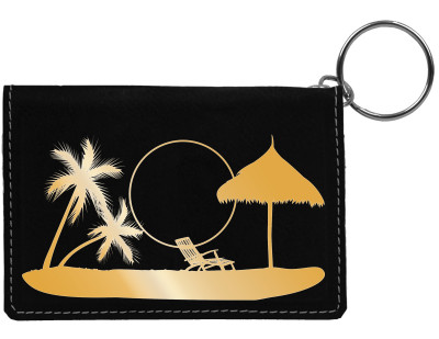 Paradise Beach Engraved Leather Keychain Wallet | KLE-00005