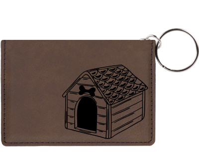 Home Sweet Bone Engraved Leather Keychain Wallet | KLE-00006