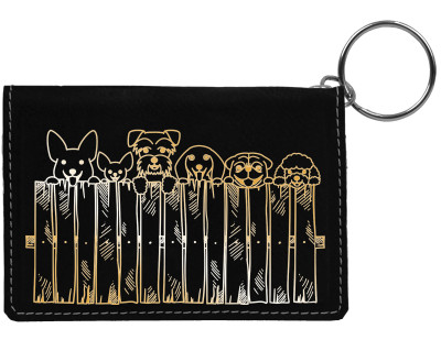 Peeking Pups Engraved Leather Keychain Wallet | KLE-00007
