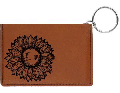 Sunflower Engraved Leather Keychain Wallet | KLE-00014