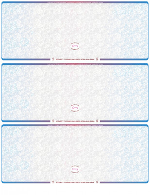 Blue Red Blank High Security 3 Per Page Laser Checks | L3CHS-BLA-BR