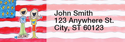 Patriotic Rectangle Address Labels by Amy S. Petrik | LRRAMY-04