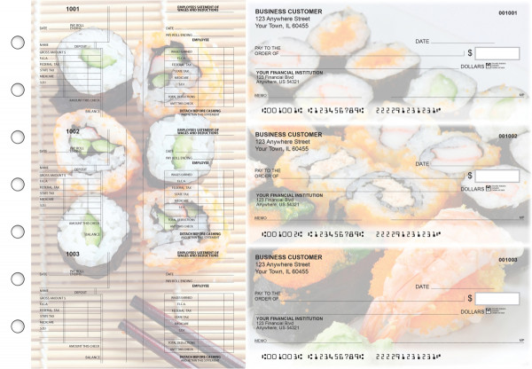 Japanese Cuisine Multi-Purpose Salary Voucher Business Checks | BU3-7CDS06-MPS