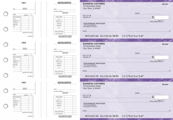 Purple Marble Multi-Purpose Salary Voucher Business Checks | BU3-7UMA01-MPS