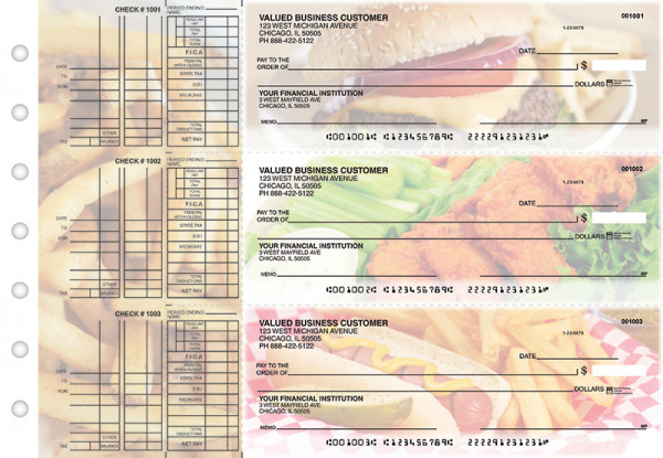 American Cuisine Multi Purpose Designer Business Checks  | BU3-CDS01-DEP