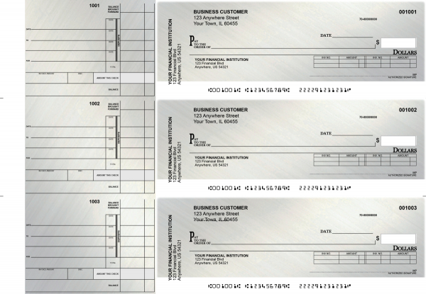 Brushed Metal Invoice Business Checks | BU3-CDS23-INV