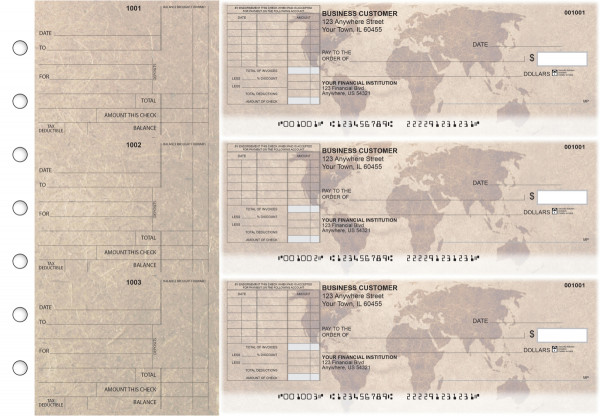 World Map Standard Itemized Invoice Business Checks | BU3-CDS26-SII