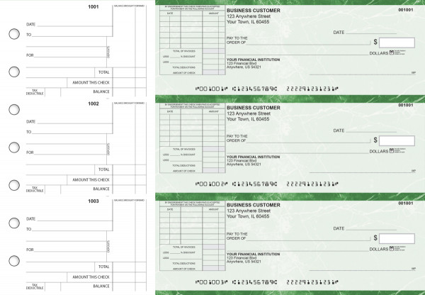 Green Marble Standard Itemized Invoice Business Checks | BU3-GMA01-SII