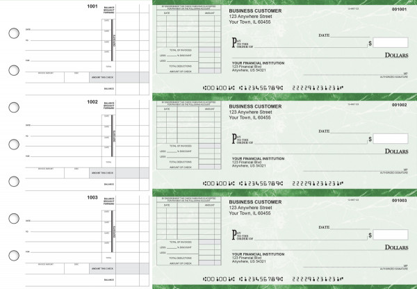 Green Marble Itemized Invoice Business Checks | BU3-GMA01-TNV