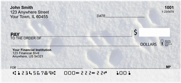 Snowy Animal Tracks Personal Checks | GEO-30