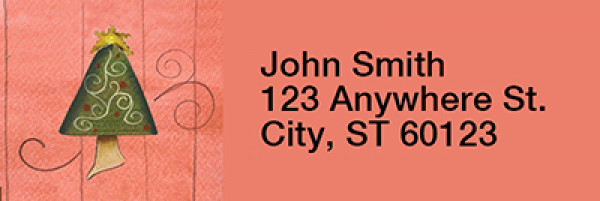 Swirl Tree & Stocking Narrow Address Labels by Lorrie Weber | LRRJHS-16