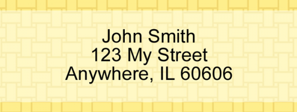 Yellow Safety Rectangle Address Label | LRVAL-003