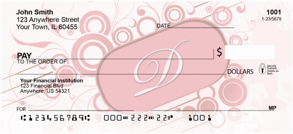 Stylish Monogram 'D' Personal Checks | MONO-03D