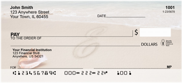 Sand Written Monogram 'E' Personal Checks | MONO-07E