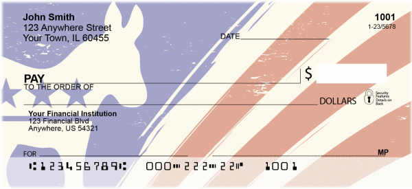 Democrat Donkey Flag Personal Checks | POL-02