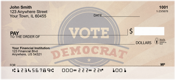 Vote Democrat Personal Checks | POL-04