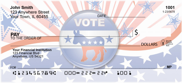 Democrat Stars and Stripes Personal Checks | POL-05