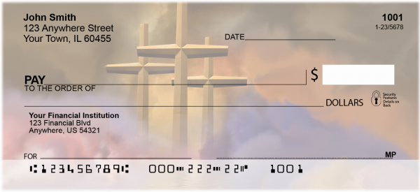 Crosses - Golden Crosses Personal Checks | REL-17