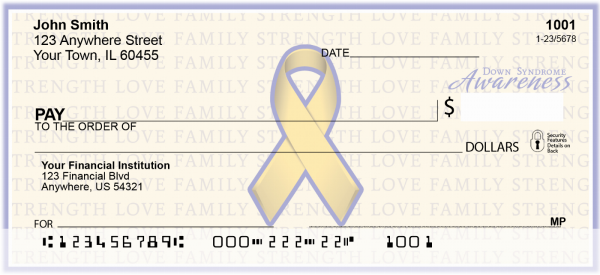 Down Syndrome Awareness Ribbon Personal Checks | RIB-13