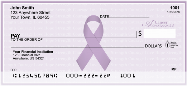 Cancer Awareness Ribbon Personal Checks | RIB-14